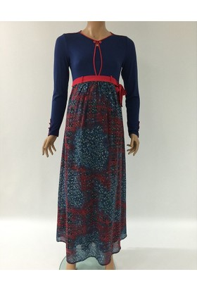 Livaa Hamile Uzun Şifon Elbise L-1949 - Lacivert