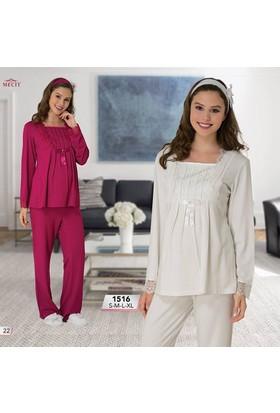 Mecit Lohusa Pijama Takım M-1516 Vişne