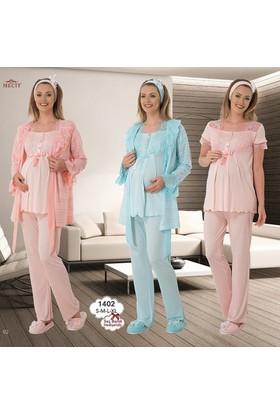 Mecit Lohusa 3'lü Pijama Takım 1402 - Somon