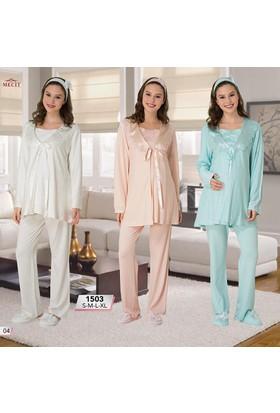 Mecit Lohusa 3'lü Pijama Takım M-1503 - Pudra