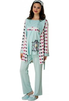 Mecit Lohusa 3'lü Pijama Takım M-1506Mint - Yeşil