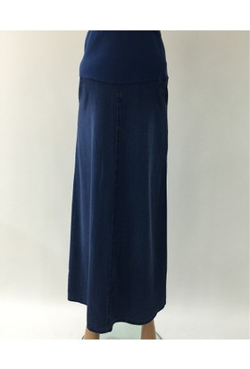 Trendy Hamile Uzun Kot Etek 4140 - Mavi
