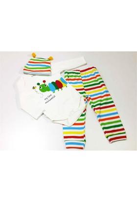 Miniworld Tırtıllı Uzun Kollu Üç Parça Bebek Takımı