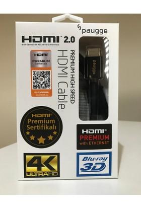 Paugge V2.0 Premium Sertifikalı 4K Ultra HD 4096x2160 60Hz 18Gbps Bandwith HDR Destekli HDMI Kablo - 2 Metre