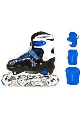 Delta GRD 16 Inline Skate Alüminyum Mavi Paten Set - Paten + Koruyucu Set
