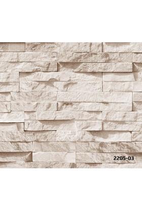 Bossini 2205-03 Taş Desenli 3 Boyutlu Duvar Kağıdı