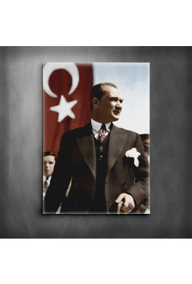 Dekolata Atatürk ve Bayrak Kanvas Tablo