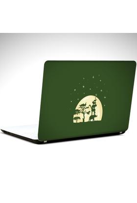 Dekolata Ağaç Hayvanlar ve Yıldızlar Laptop Sticker