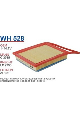 Wunder Citroen Berlingo Iı - C3 - C4 - C5 Ds3 1.6 Hdi 10 Hava Filtresi Oem No:1444.Tv