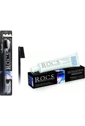 Rocs Sensation Whitening Diş Macunu & Black Diş Fırçası