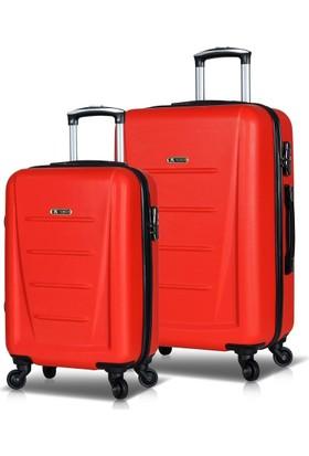 My Valice Moss Abs 2'Li Valiz Seti (Kabin Ve Orta) Kırmızı