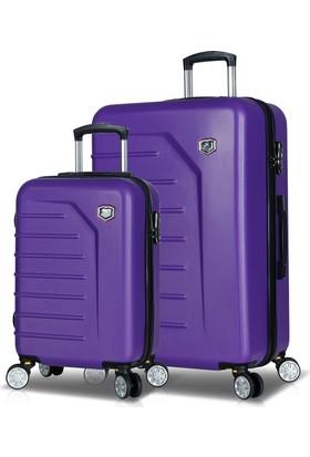 My Valice Premium Abs 2'Li Valiz Seti (Kabin Ve Büyük) Mor