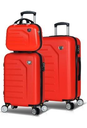 My Valice Premium Abs 3'Lü Valiz Seti (El + Kabin + Orta Boy) Kırmızı
