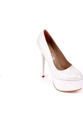 Bonalodi Beyaz Gümüş Kadın Topuklu Ayakkabı