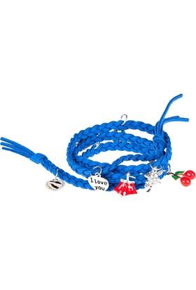 Bonalodi Lady Aksesuarlı Mavi Deri Bileklik