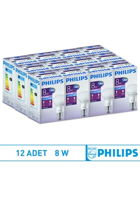 Philips Led Ampul E27 8W 6500K Beyaz Işık - 12 Adet