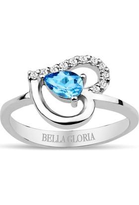Bella Gloria Pırlanta Mavi Topaz Kalp Yüzük (GPY0001)
