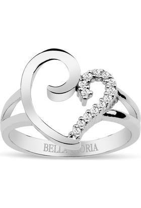 Bella Gloria Altın Kaplamalı Pırlanta Kalp Yüzük (GPY0002)
