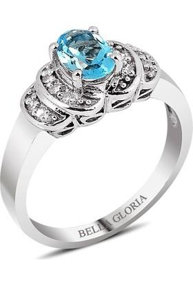 Bella Gloria Mavi Topaz Tektaş Pırlanta Yüzük (GPY0026)