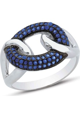 Bella Gloria Saks Mavisi Taşlı Gümüş Yüzük (GY00339)