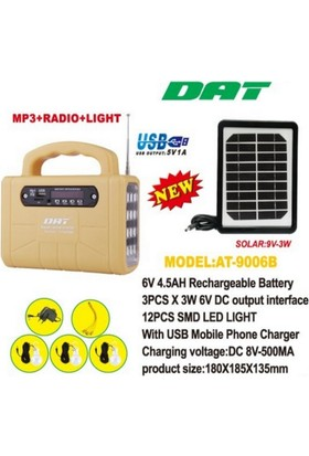 Dat-At-9006 Güneş Enerjili (Solar) Radyolu Aydınlatma Seti