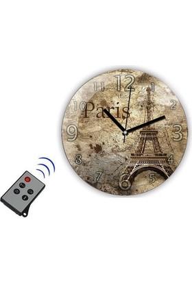 Mytech Duvar Saat Kamera Paris Resimli Vintage Bakıcı