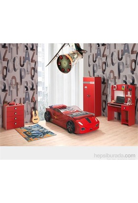 Mobika Arabalı Yatak - 3D Hızlı Yavrusuz Genç Odası - Kırmızı