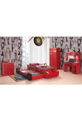Mobika Arabalı Yatak - 3D Hızlı Yavrulu Genç Odası - Kırmızı