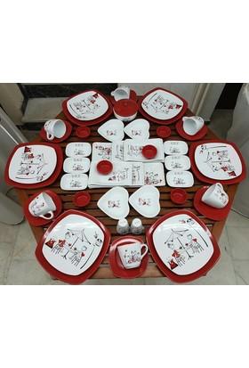 Keramika 50 Parça 6 Kişilik Peri Masali Kahvaltı Takımı