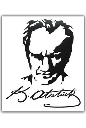 Tvet Atatürk Portre Yazı Araba Oto Sticker ( 15Cm * 17,5Cm )