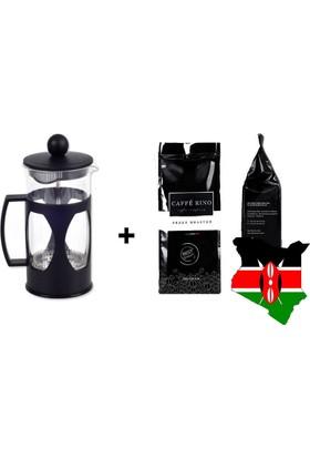 Caffe Rino Kenya Yöresel Filtre Kahve 250 gr + French Press 350ml