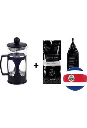 Caffe Rino Kosta Rika Yöresel Filtre Kahve 250 gr + French Press 350ml