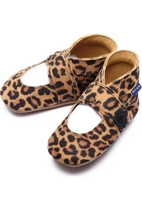 İnch Blue Hakiki Deriden Patik Mary Jane Leopard