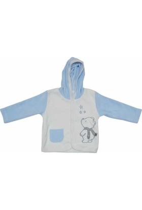 Premom 1017A Yıldızlı Ayıcıklı Kapşonlu Bebek Ceketi
