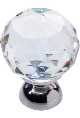 Nobel Küre Düğme Şeffaf Krom 40 mm