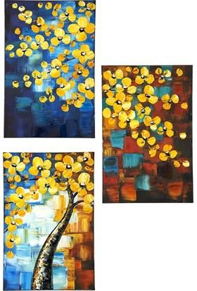 Decosuar Dekoratif Sarı Çiçekli Ahşap Çerçeveli Tablo
