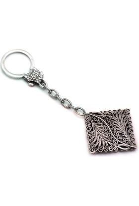 Sümer Telkari Yaprak Modeli Telkari Elişi Gümüş Anahtarlık