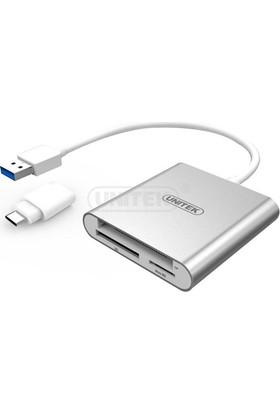Unitek USB3.0 Multi-In-One Alüminyum Kart Okuyucu (USB . C Adaptör ile)
