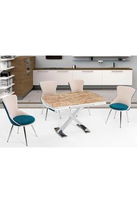 Azzore Mutfak Masası -Mutfak Masa Takımı-Mermer Desenli Masa Takımı