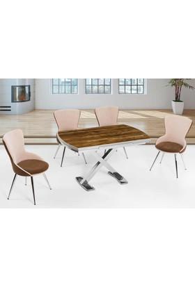 Azzore Mutfak Masası -Mutfak Masa Takımı - Ceviz Desenli Masa Takımı