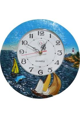 Duvar Saati Deniz Manzaralı