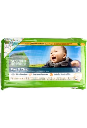 Seventh Generation Organik Bebek Bezi - 1 (3,6 - 6,4 kg) 40 Adet