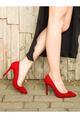 Mecrea Exclusive Liset Kırmızı Süet Stiletto