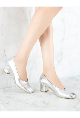 Mecrea Exclusive Witel Gümüş Düşük Topuklu Ayakkabı