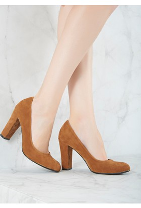 Mecrea Exclusive Grant Taba Süet Topuklu Ayakkabı