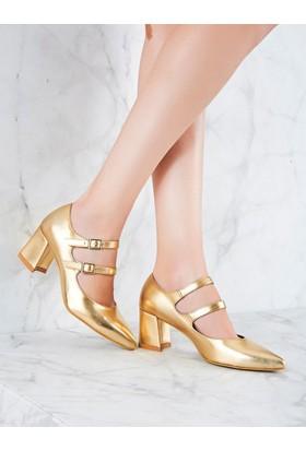 Mecrea Exclusive Monk Altın Topuklu Ayakkabı