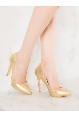 Mecrea Exclusive Liset Altın Stiletto Topuklu