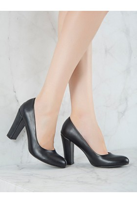 Mecrea Exclusive Grant Siyah Topuklu Ayakkabı