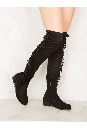 Mecrea Exclusive Britany Siyah Stretch Püsküllü Düz Çorap Çizme