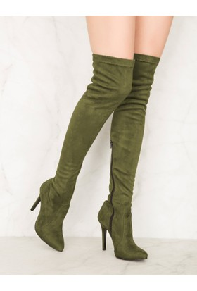 Mecrea Exclusive Britney Haki Uzun Çorap Çizme